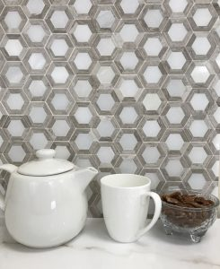 marble mosaic tiles backsplash