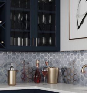 blue glass mosaic tiles backsplash bar
