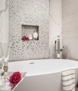 Cordoba Silver glass mosaic tiles feature wall in bathroom