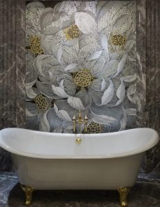 Alma Collection floral mosaic tiles mural feature wall bathroom