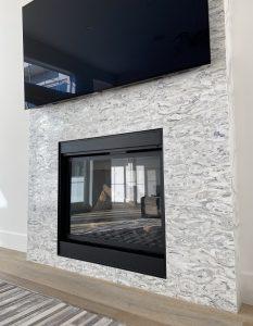 waterjet stone mosaic tiles fireplace
