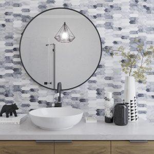 stone mosaic tiles bathroom backsplash