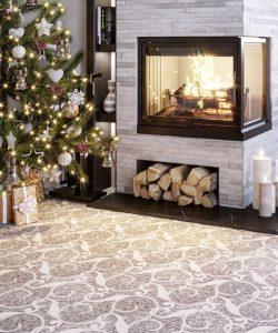 mosaic tiles floor tile fireplace