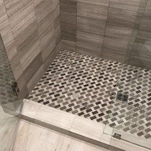 shower pan mosaic tiles