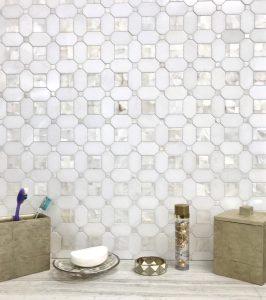 Shell white mosaic tiles on backsplash