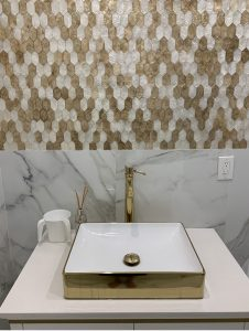 gold and white shell mosaic tiles