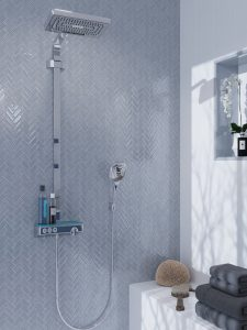 Gray mosaic tiles shower wall