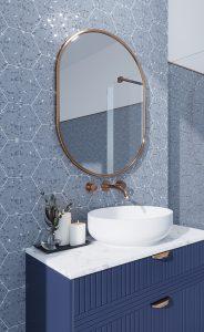 blue speckled hexagon tile in bathroom