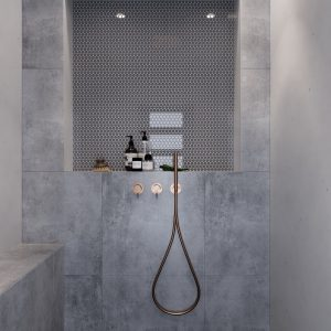 Gray glass tiles shower niche