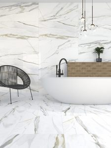 Residential marble large format tiles