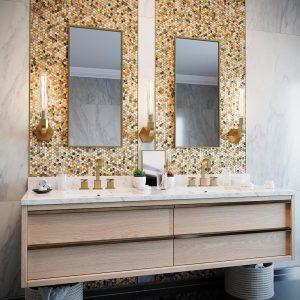 shell penny round tiles backsplash bathroom tile