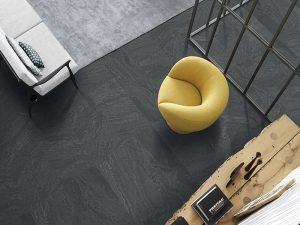 black slate large format tiles, floor