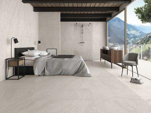 white large format tiles, bedroom