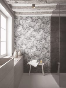 Unique wood look tile on bathroom accent wall for bathroom tile trends