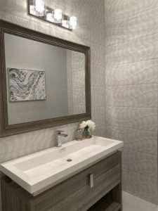 Textured tile in powder room