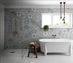 Movement Porcelain Tile Collection in bathroom