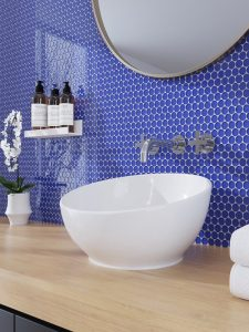 Dark blue glass penny round tiles bathroom