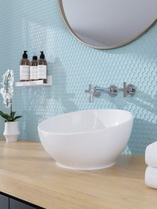 light blue penny round backsplash tile