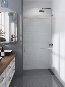 White and gray glass bathroom tiles