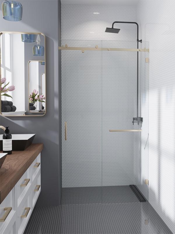 White and gray glass bathroom tiles
