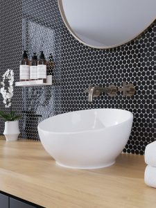 Black penny round backsplash glass tiles