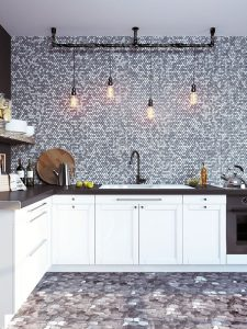 gray marble penny round tiles in modern kitchen