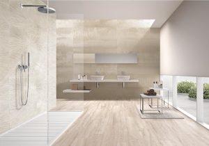 large format tiles, beige, bathroom