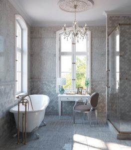 Stunning elegant bathroom with neutral tiles