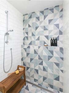 Geometric blue tile in contemporary shower