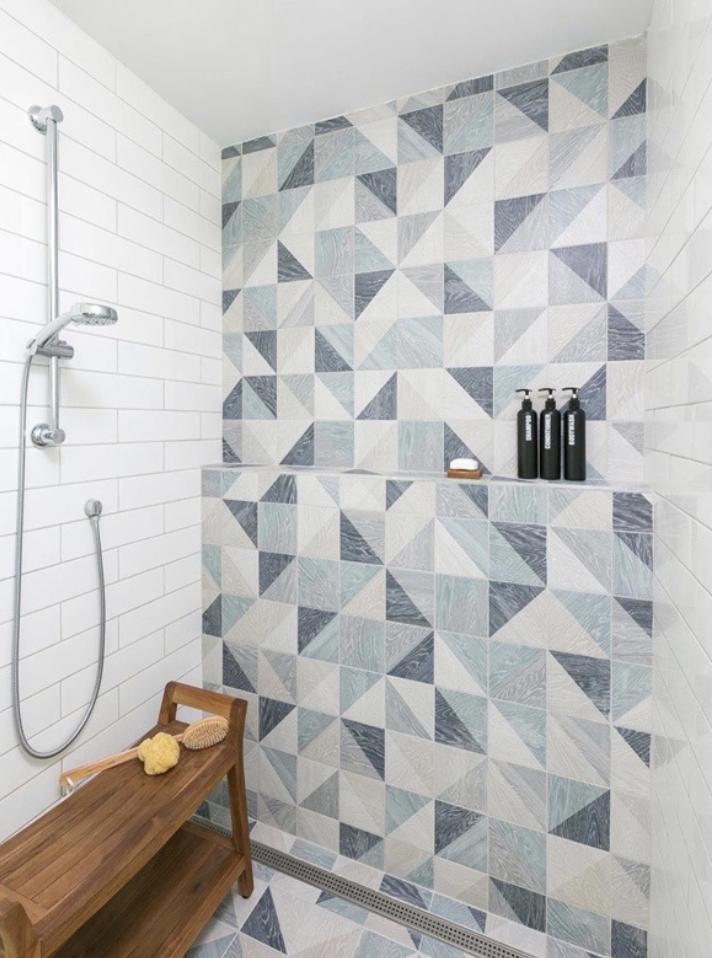 Geometric blue wood look porcelain tile in shower walll