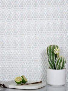 white penny round tiles backsplash