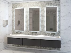white and gray penny round tiles in bathroom