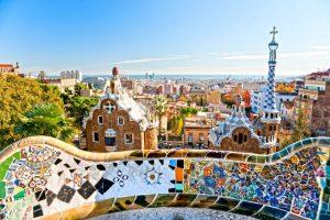 Park Guell Mosaic Tile Art Closeup